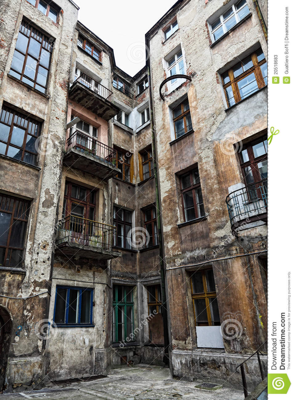 Old Grunge House In Lodz Centre Stock Photos Image 20518683