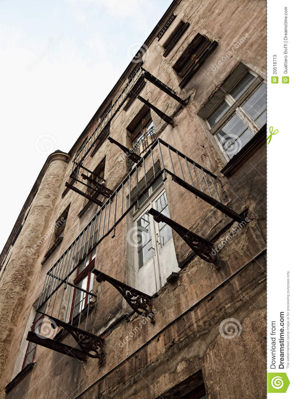 Old Grunge House In Lodz Centre Stock Image Image 20518713