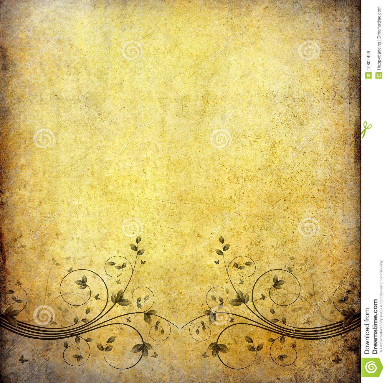 Old Paper Wallpaper: Old Grunge Paper With Vintage Flower Stock Illustration