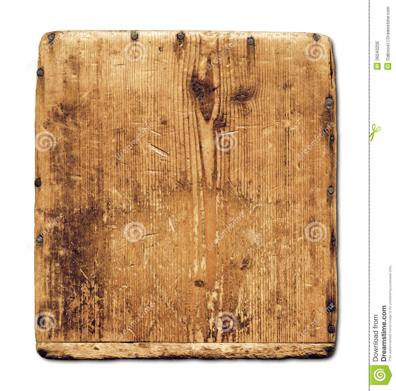 Old Wood Board ~ Old grunge wood board isolated on white royalty free stock