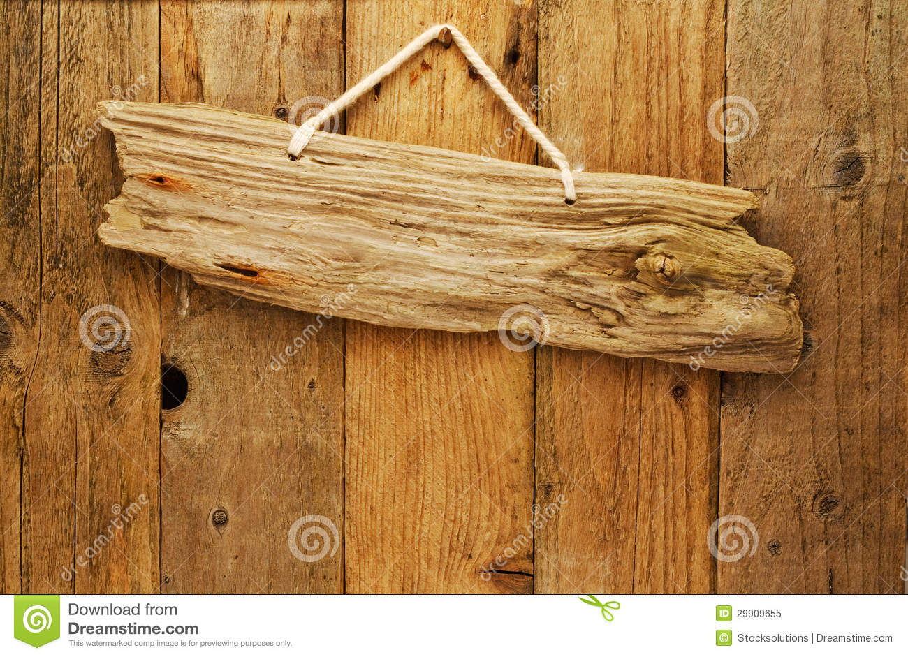 Old Wood Board ~ Driftwood wooden sign board on string stock image