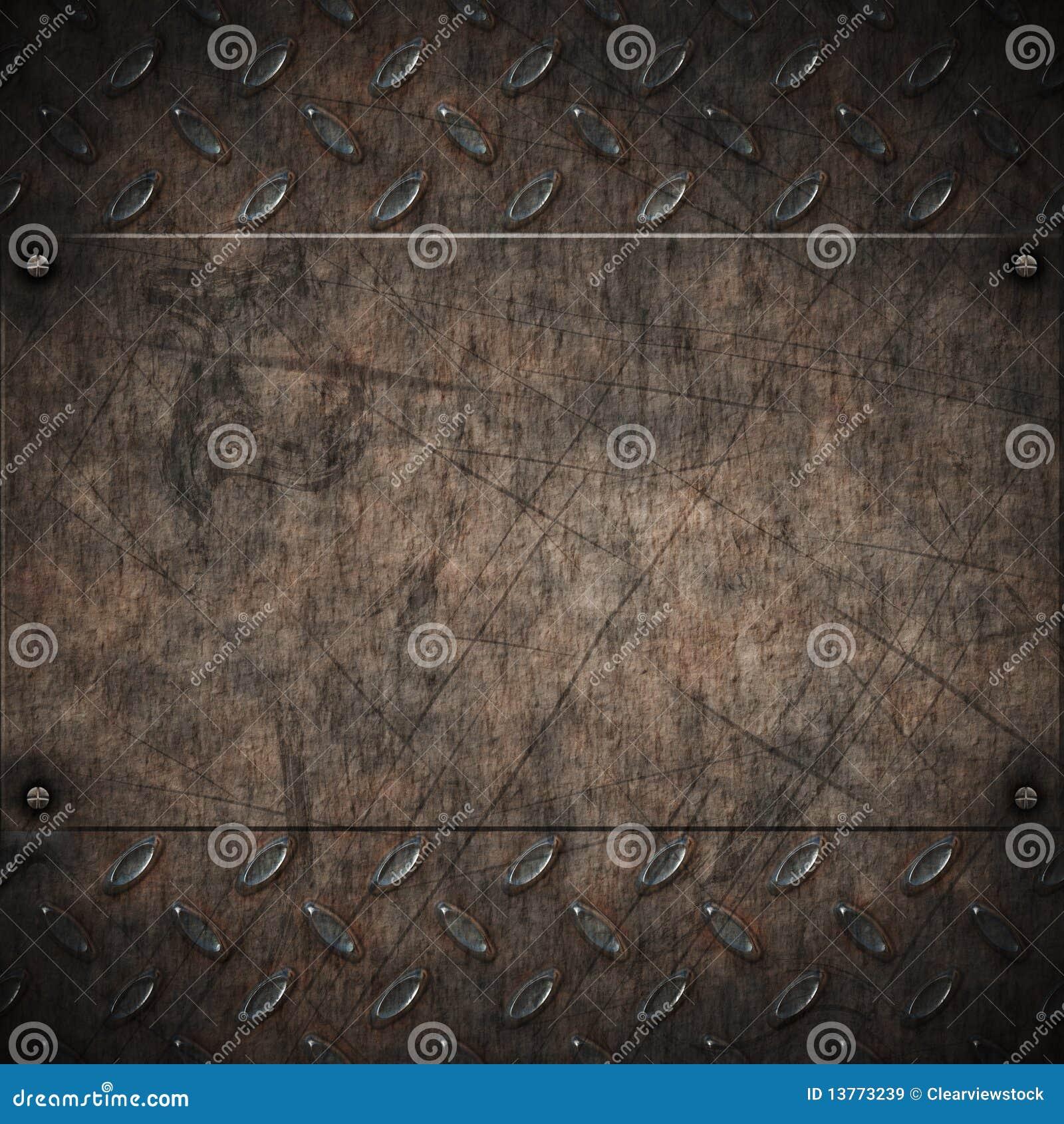 Old Grungy Diamond Plate Metal Stock Vector Illustration