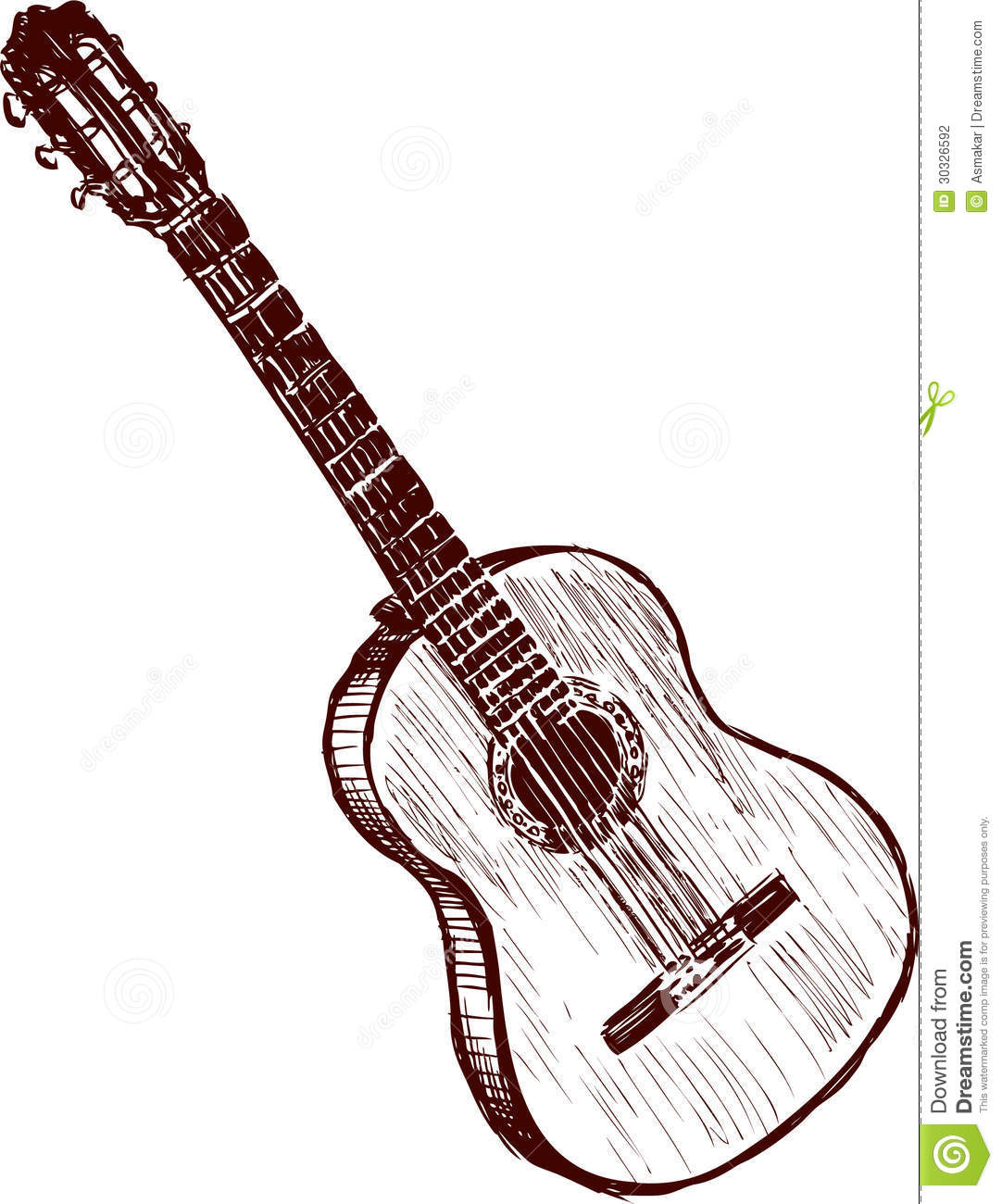 Old guitar stock vector  Illustration of steel, rock - 30326592