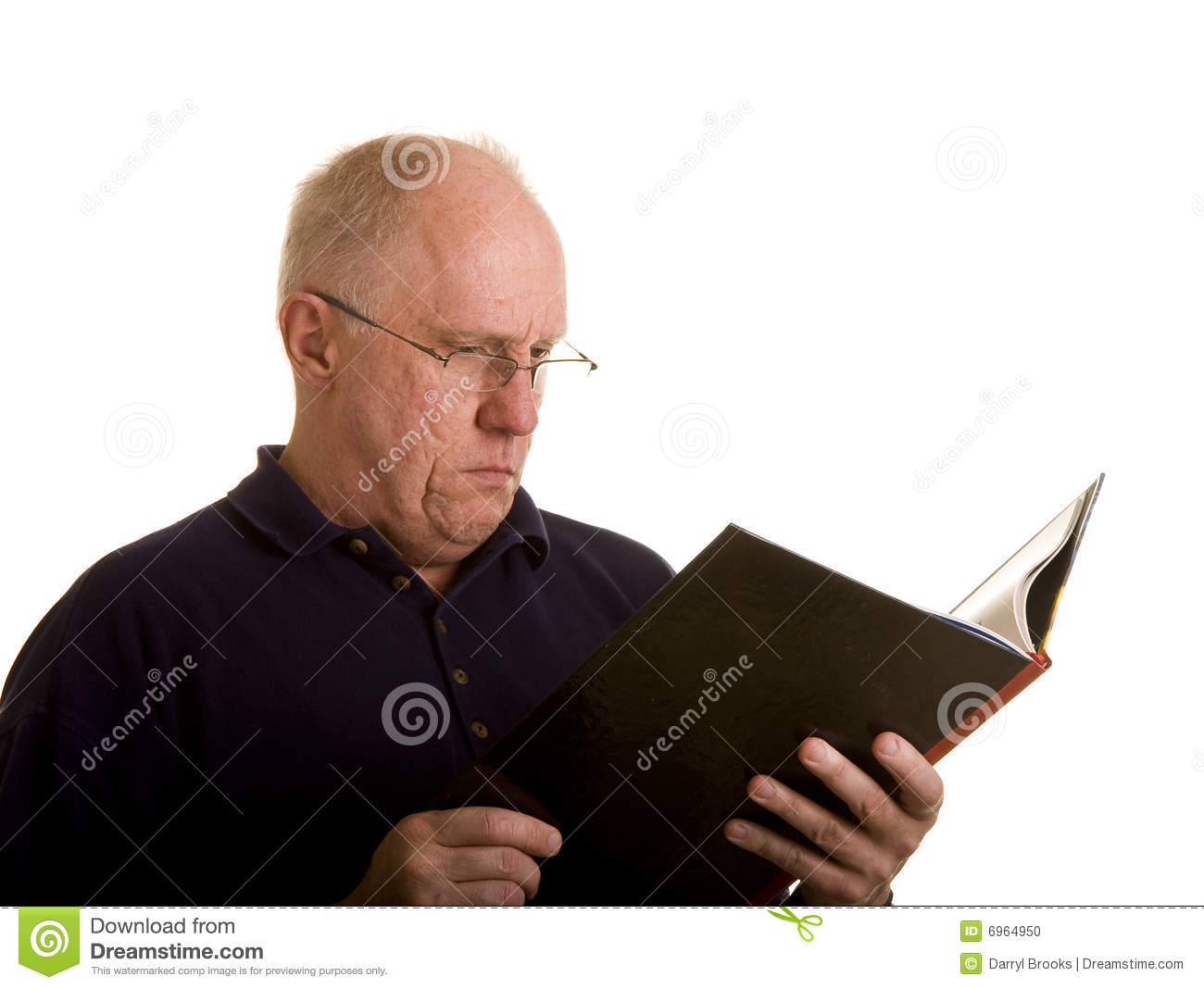 Old Guy In Reading Glasses With Book Stock Photo - Image of glasses, shirt:  6964950