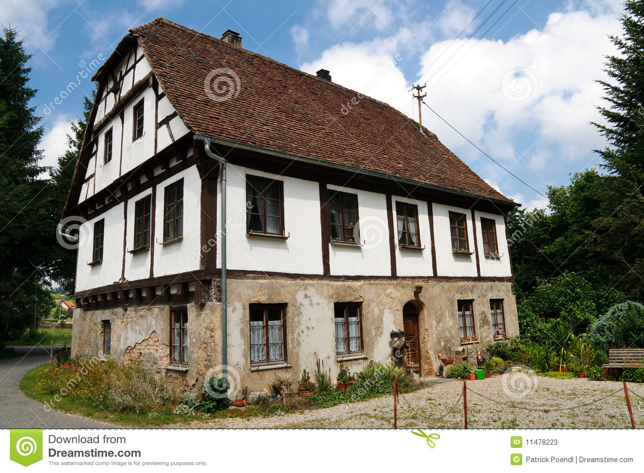 Old half timbered house in village germany stock photos for Half timbered house plans