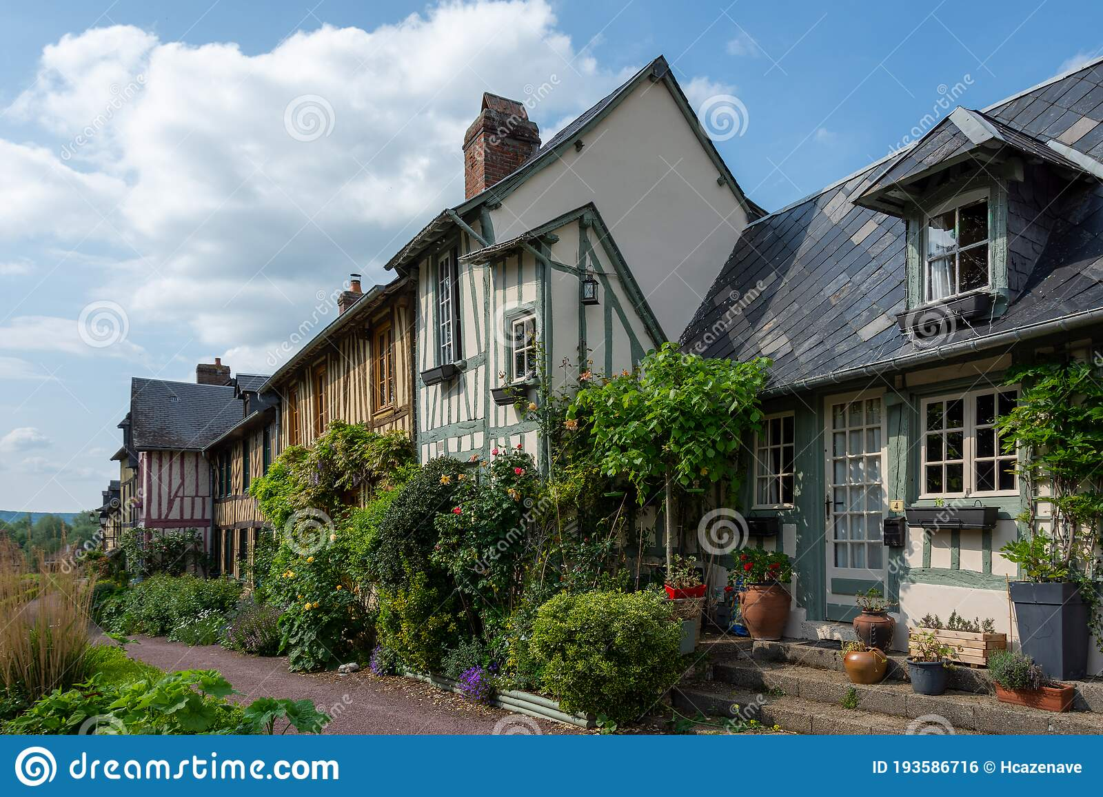 Old Half Timbered Houses Typical French Normandy Style Stock Photo Image Of Beautiful Countryside 193586716