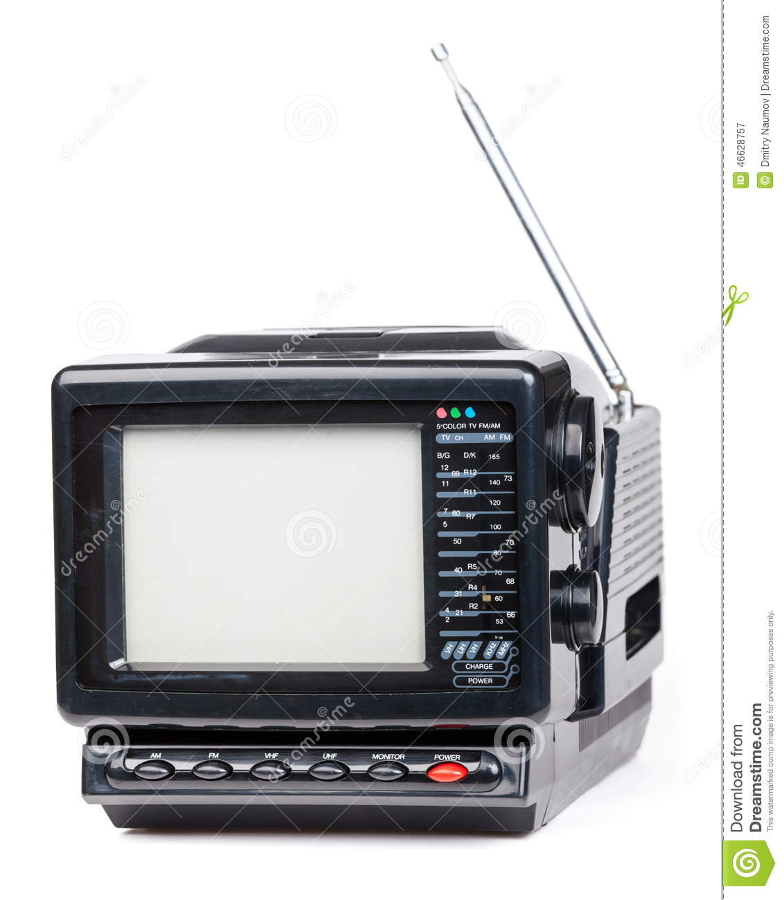 old handheld radio and television set isolated stock photo image 46628757. Black Bedroom Furniture Sets. Home Design Ideas
