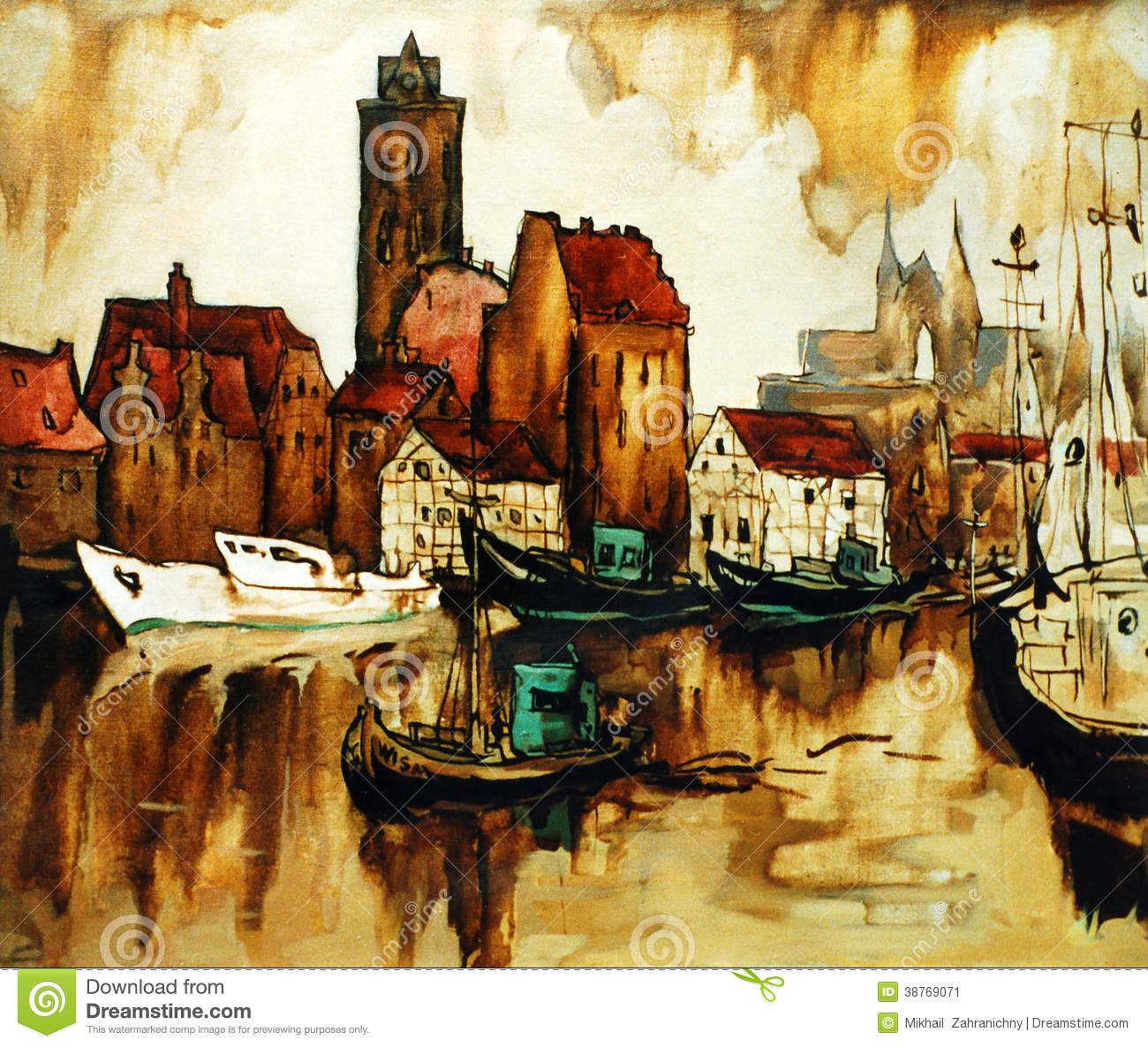 Old Harbour In The German City Wismar Painting Stock
