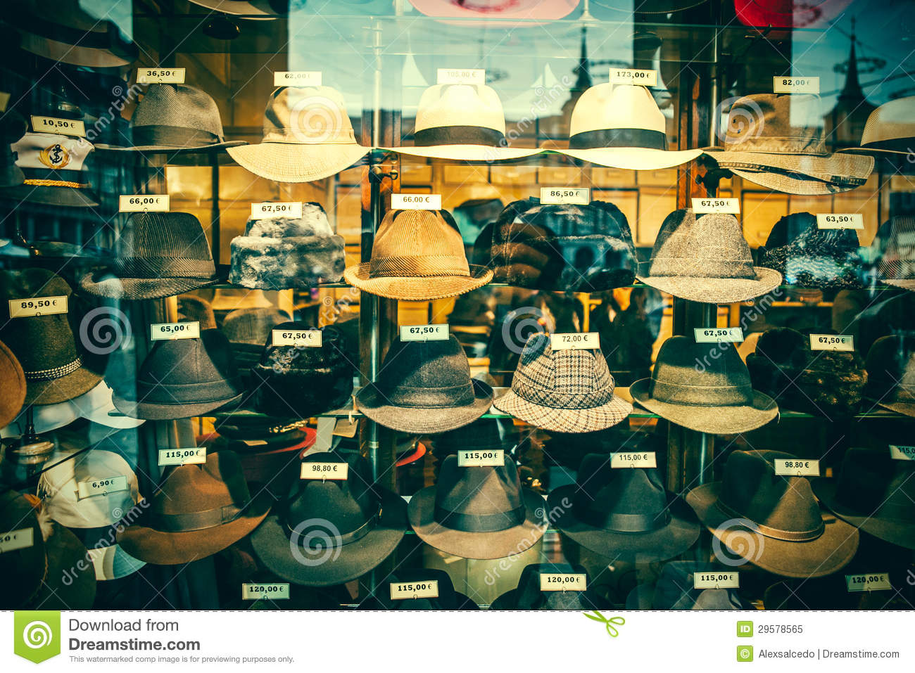 View of this old hats shop with vintage colors. 365ad96e0bd