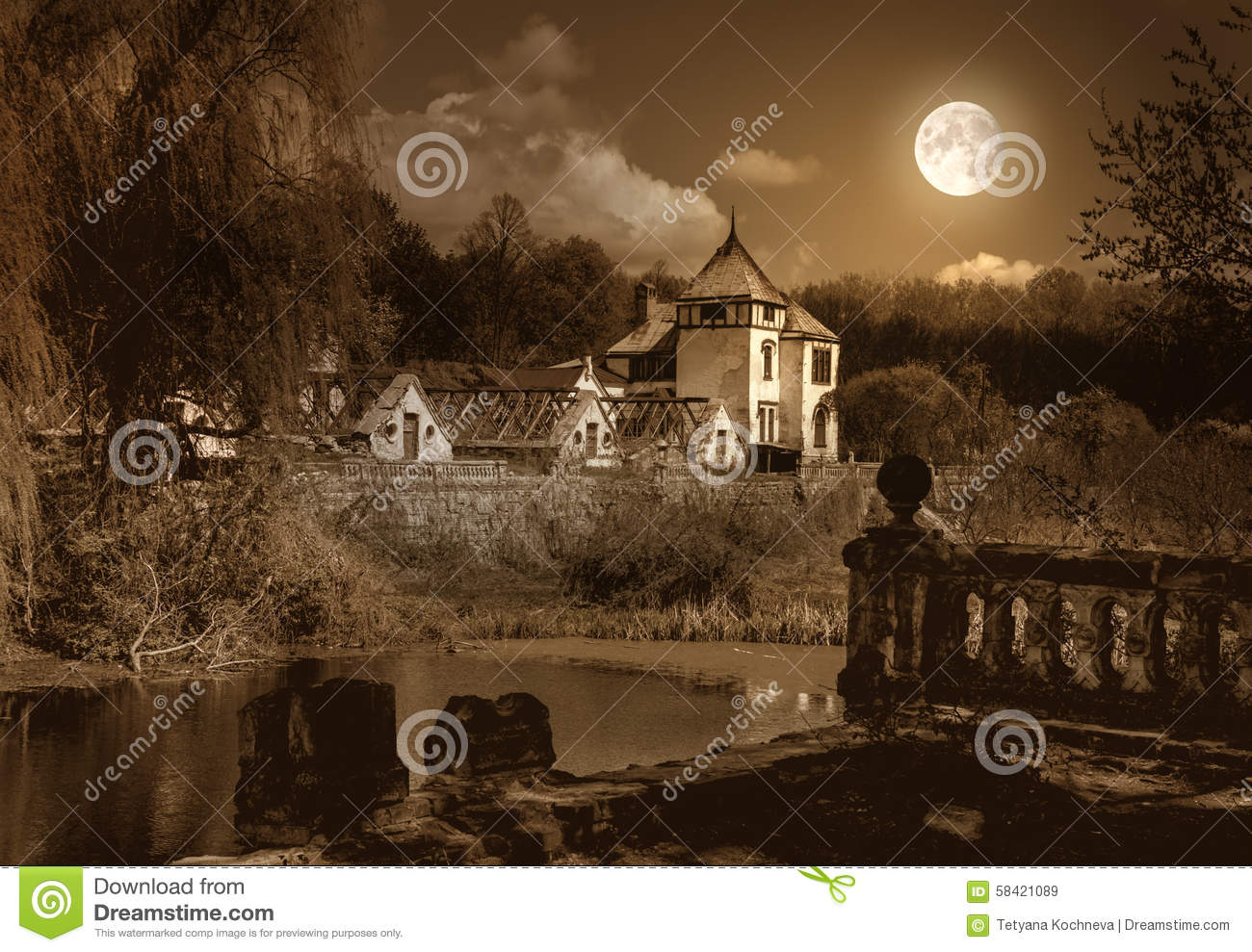 Old Haunted House And Park Stock Photo Image 58421089
