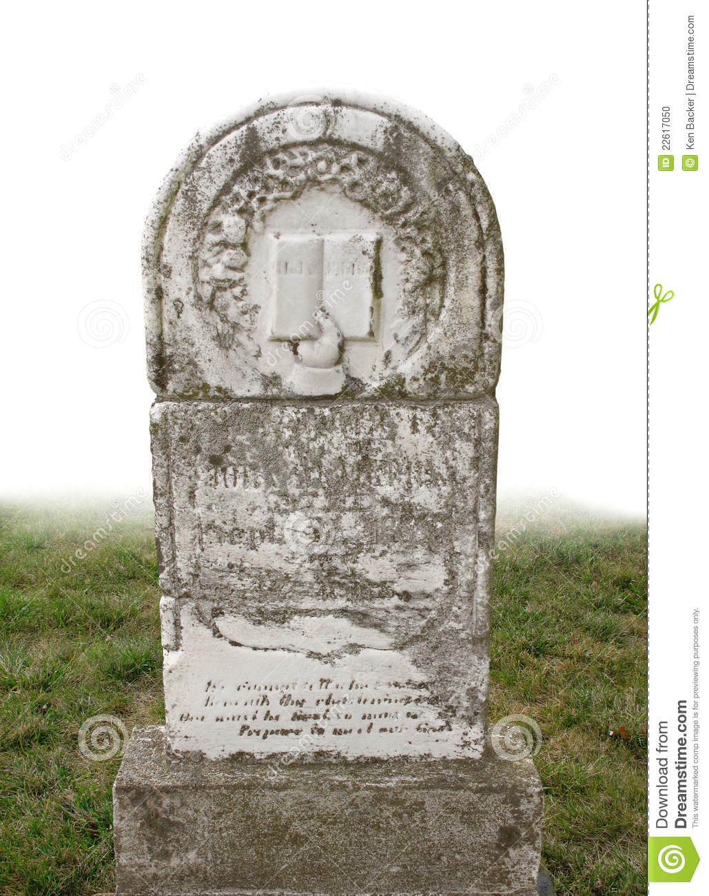 Old Headstone Isolated Stock Photo - Image: 22617050