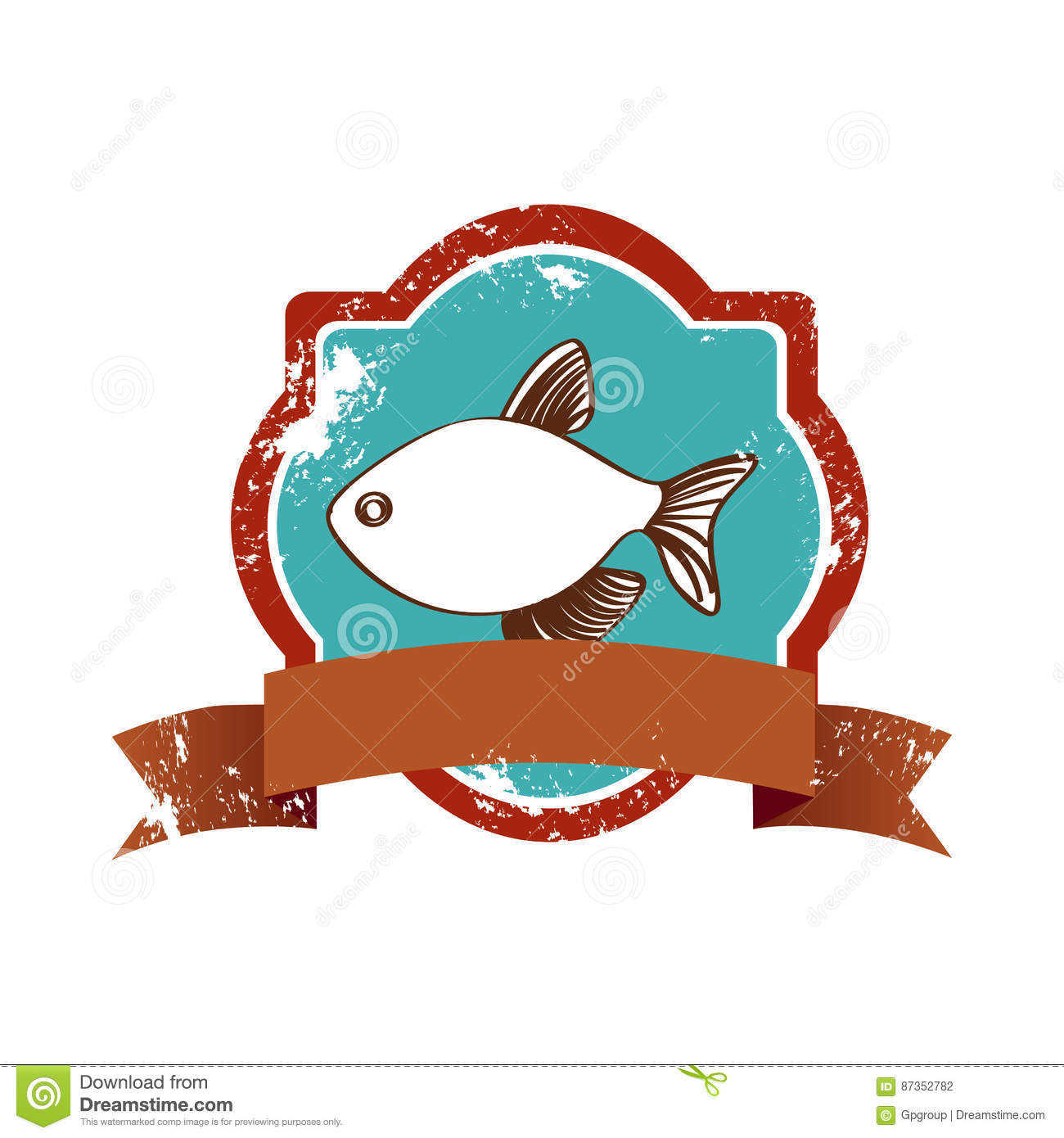 old heraldic borders with fish and label stock illustration