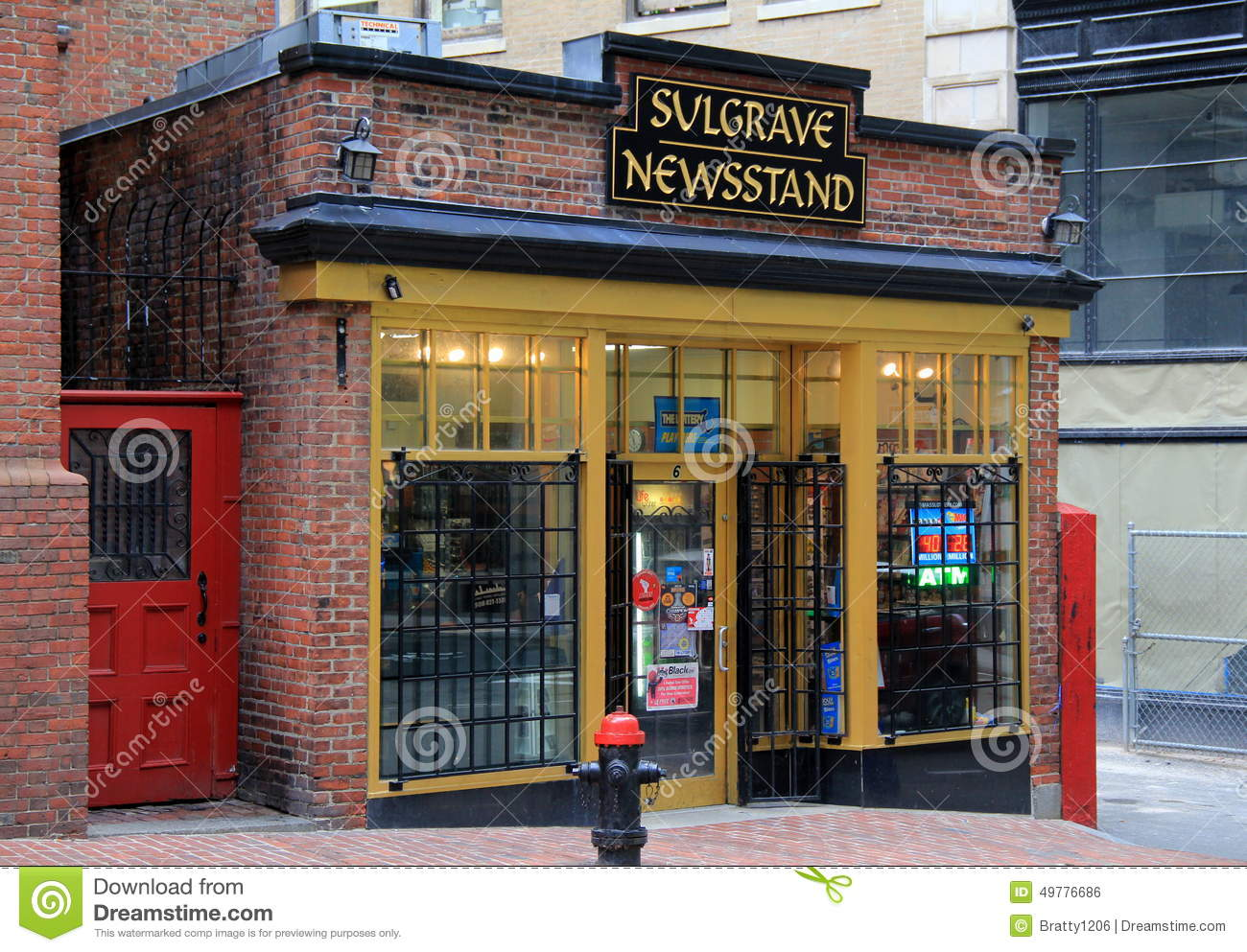 Editorial Photo: Old, historic brick storefront of Sulgrave Newsstand ...