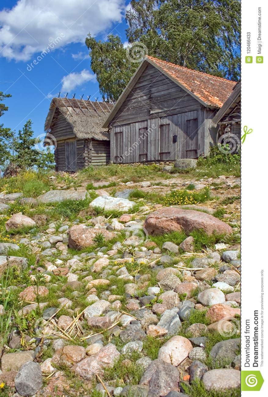 Download Old Historic Net-sheds In Altja, Estonia Stock Image - Image of food, history: 120466433