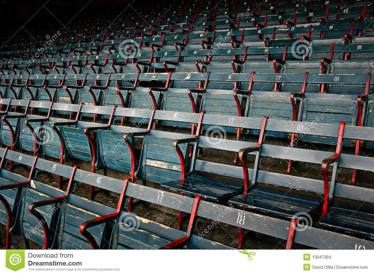 old historic wood stadium seats at fenway park stock photo