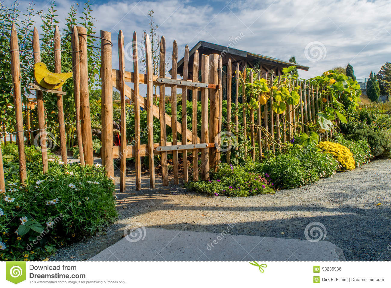 Old Historical Picket Fence At A Small Farm Garden Stock Photo ...