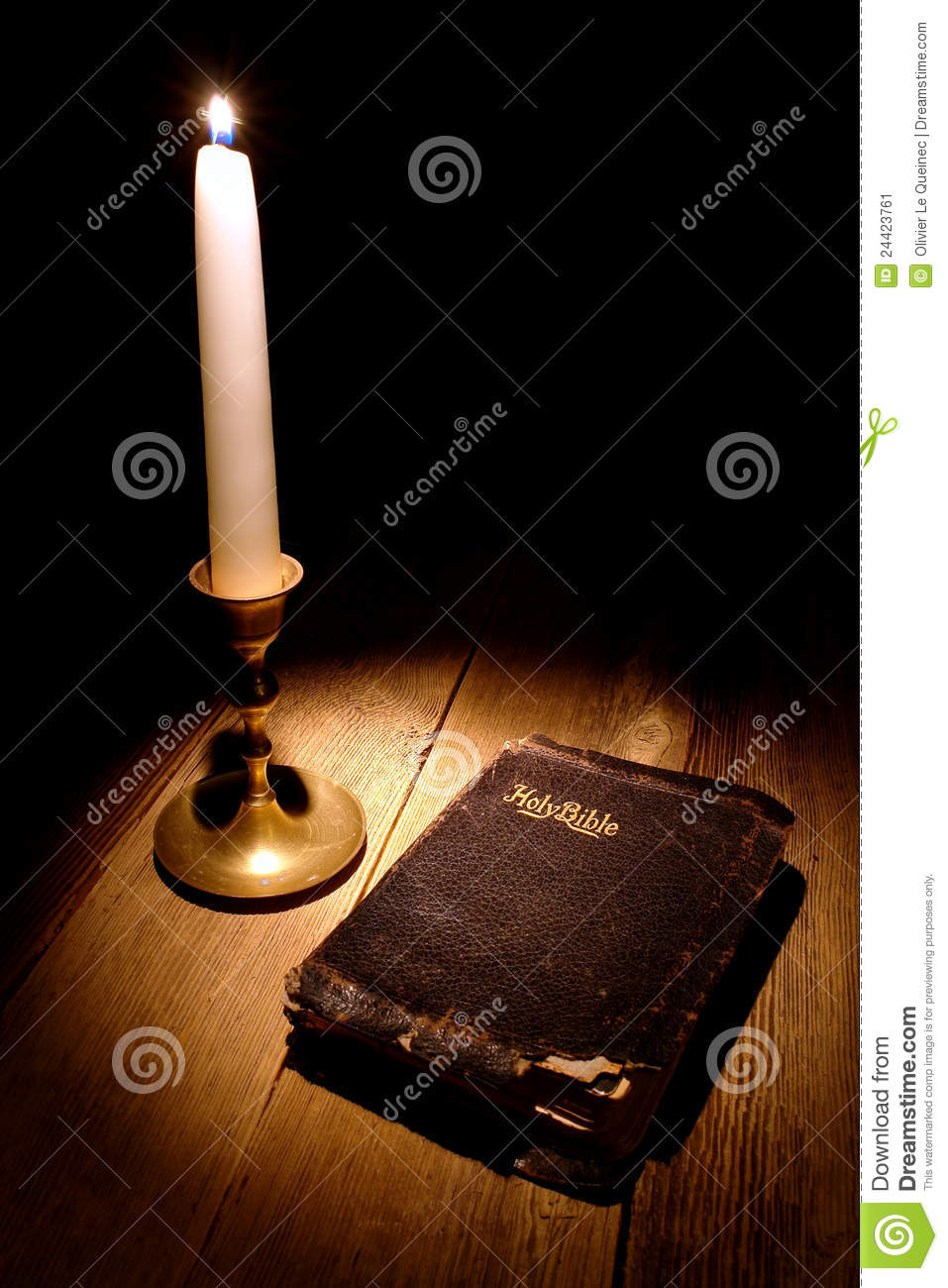 Old Holy Bible Antique Book In Soft Candle Light Stock