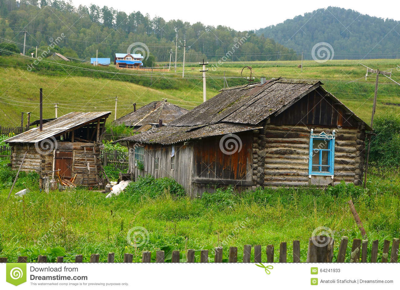The old house on altai stock photo image 64241933 - Summer houses mountains ...