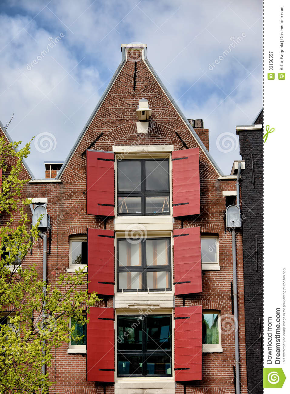 Old house in amsterdam with triangular gable royalty free for Classic house builders