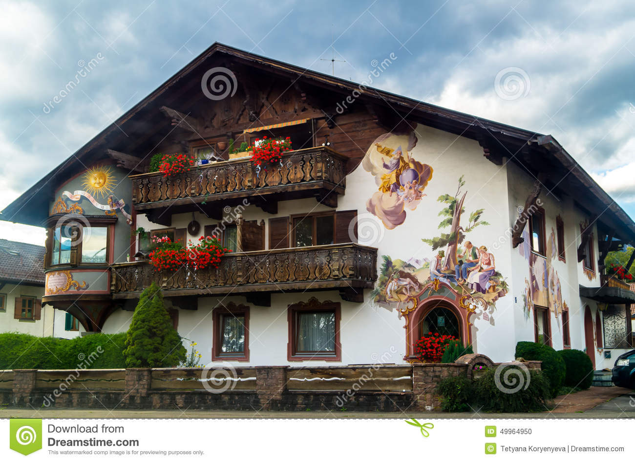 Old House In The Bavarian Style Stock Photo Image 49964950
