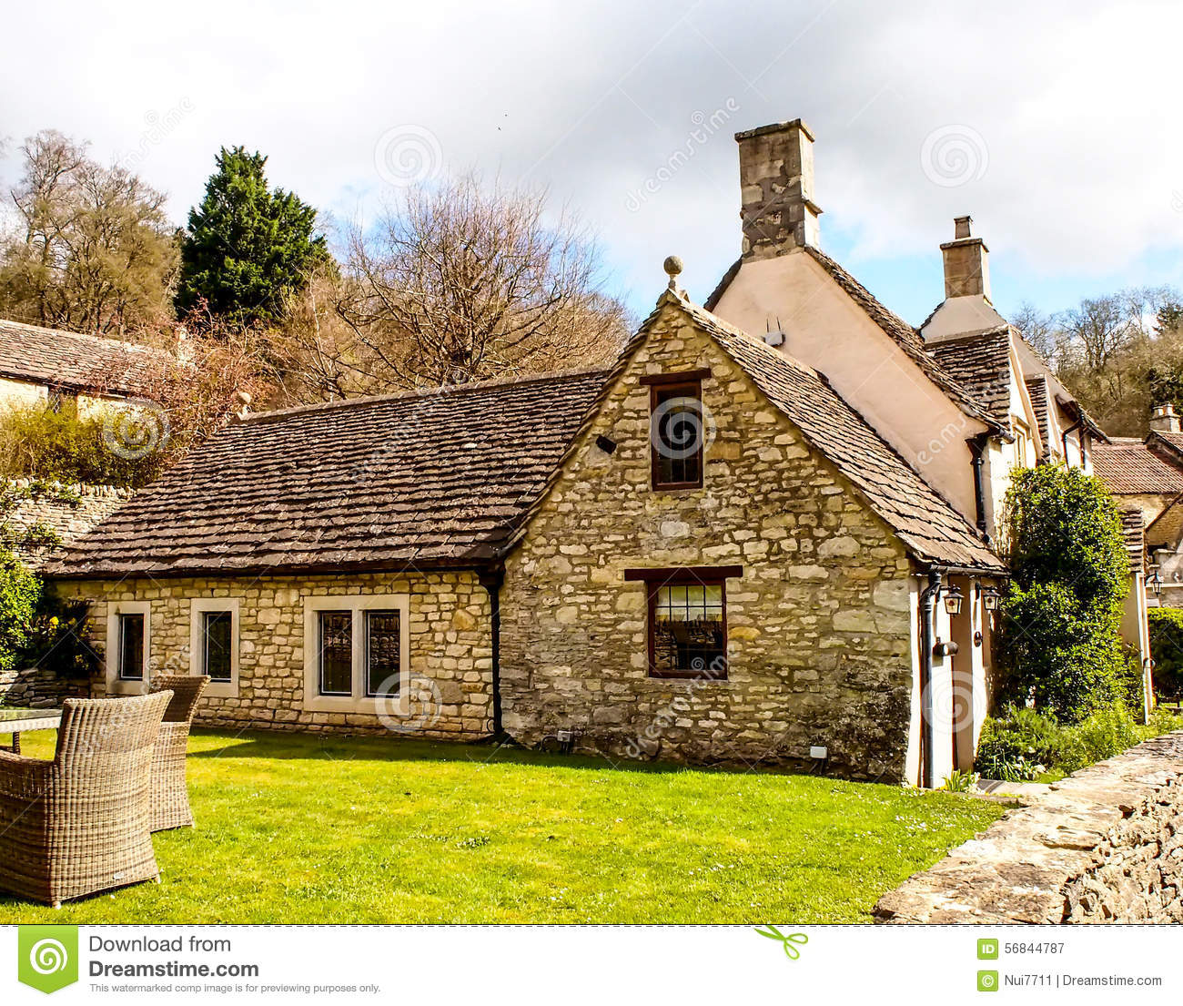 Old House At Castle Comb Village Somerset Uk Stock Photo