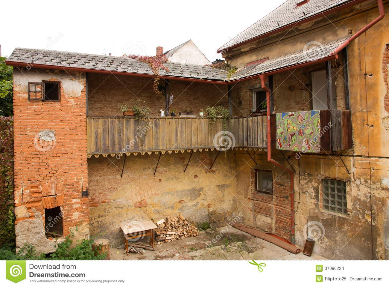 Old house stock images image 37080224 - Houses with covered balconies ...