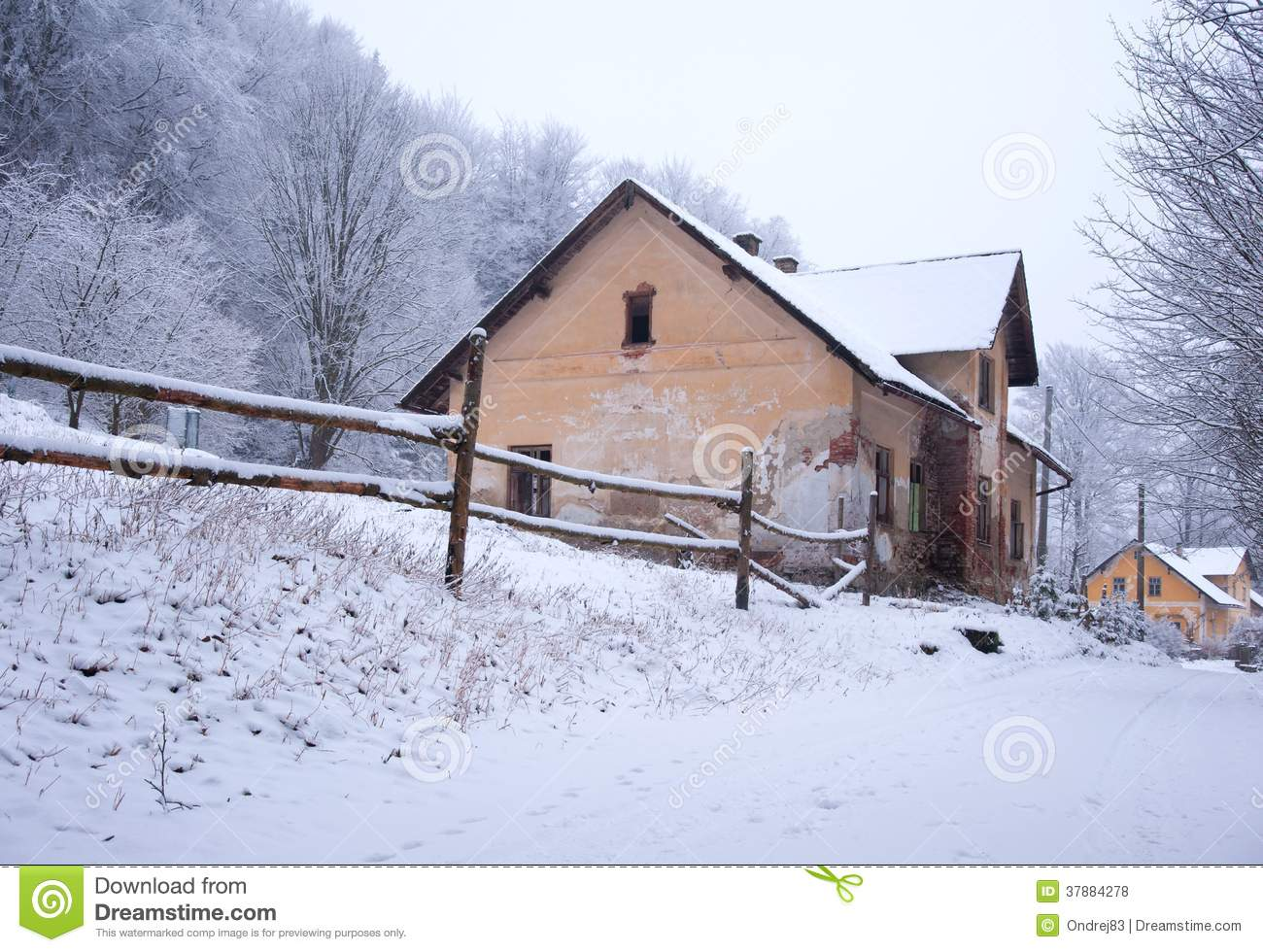 snow covered house - photo #26