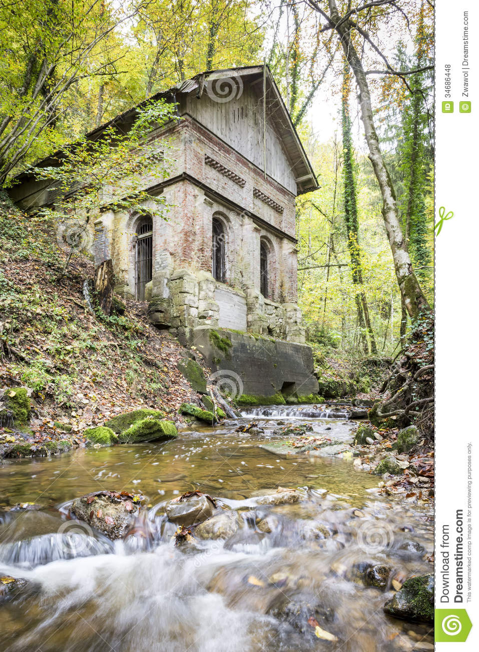 Old house with creek in forest stock photo image of for Creek house
