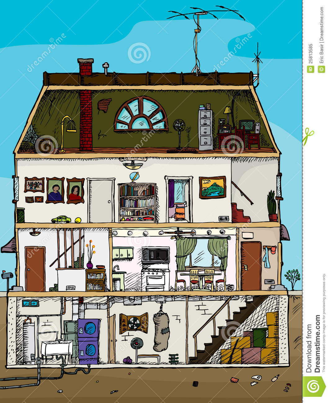 Old house cross section stock vector illustration of for Disegno della casa