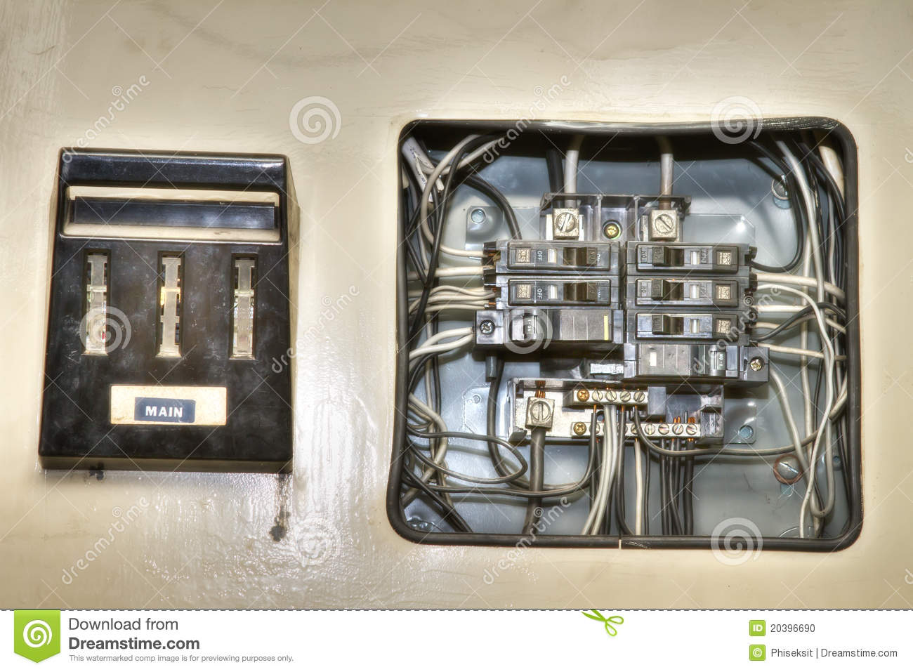 Old House Electrical Control Panel Stock Photo Image