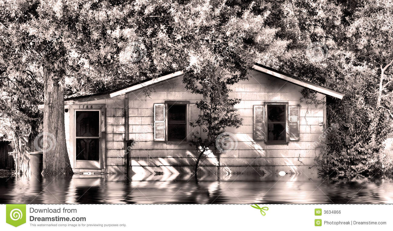 Old House In Flood Water Royalty Free Stock Image Image