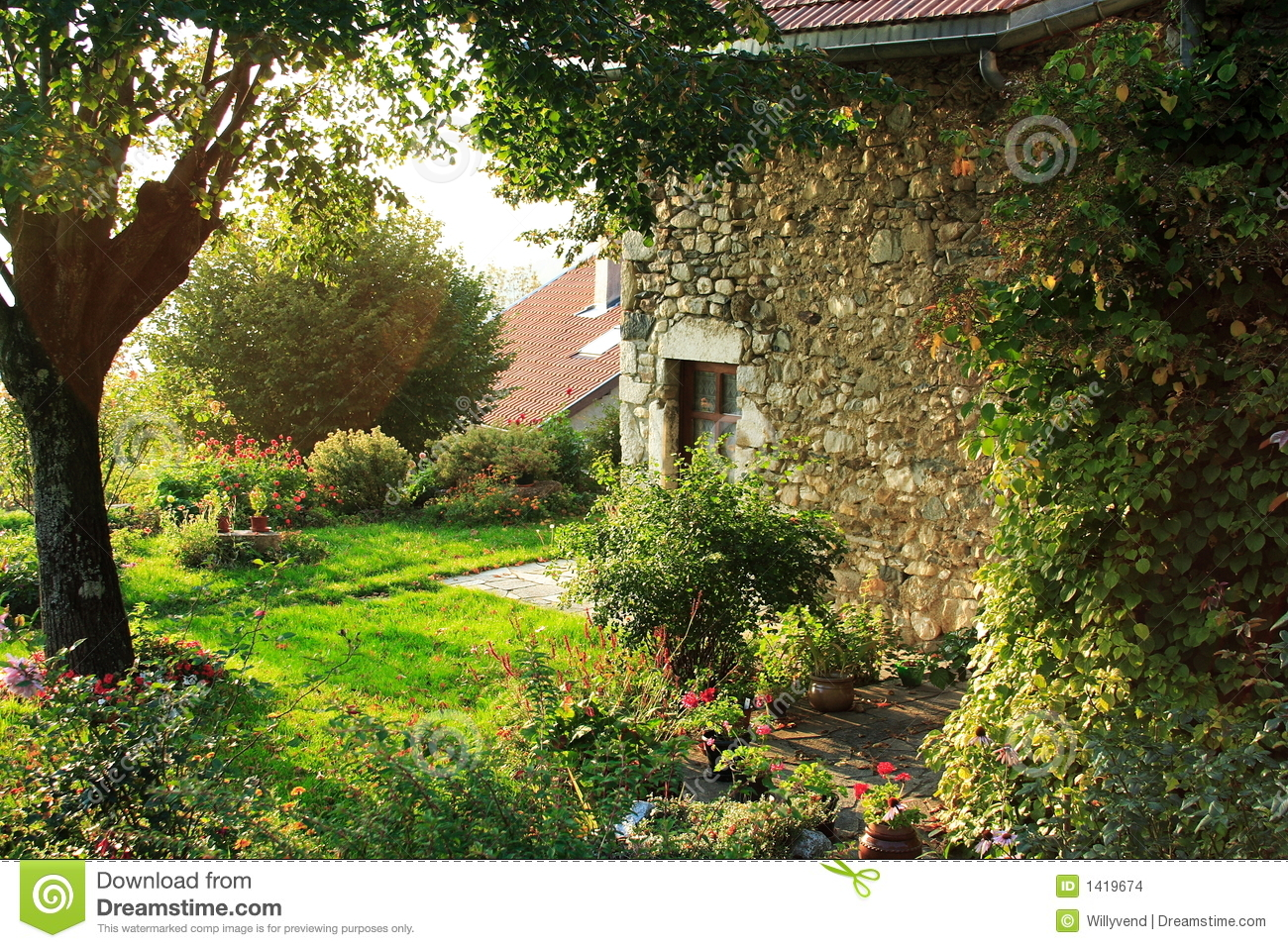 Old house and french garden stock photo image of home for Classic house with flower garden