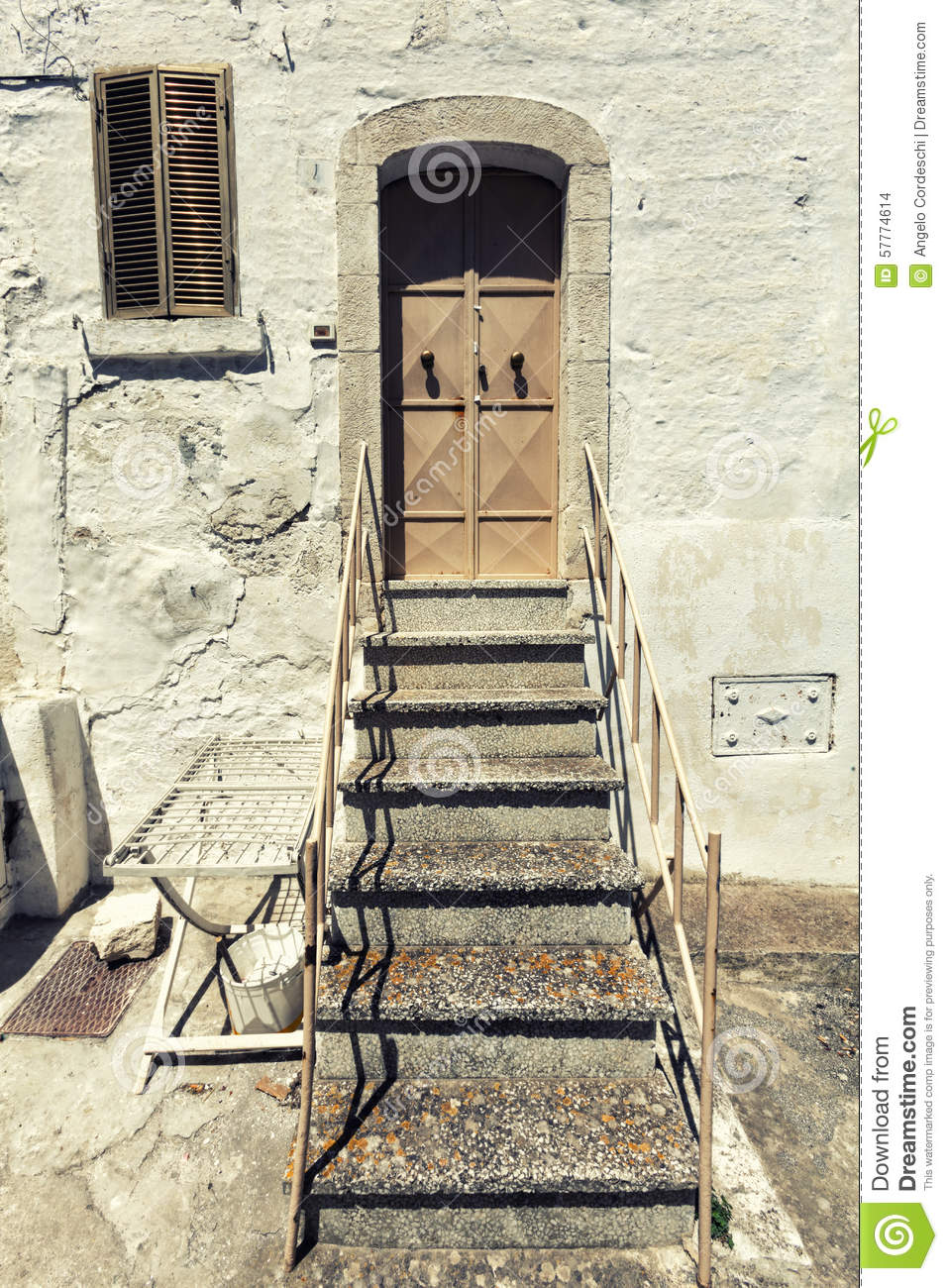 Old House Front Door And Stairs Vintage Italian Scene