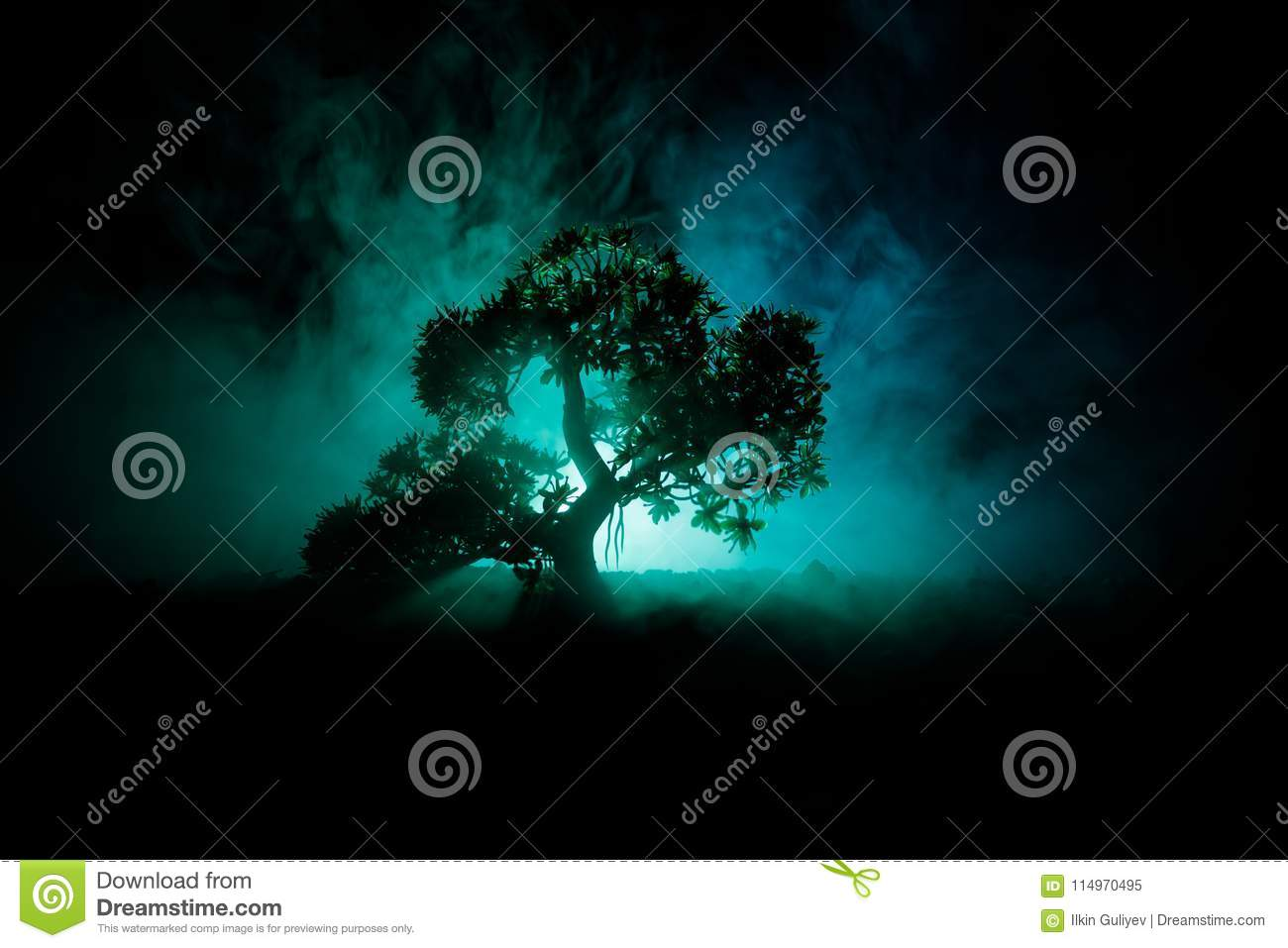 Old house with a Ghost in the forest at night or Abandoned Haunted Horror House in fog. Old mystic building in dead tree forest. T