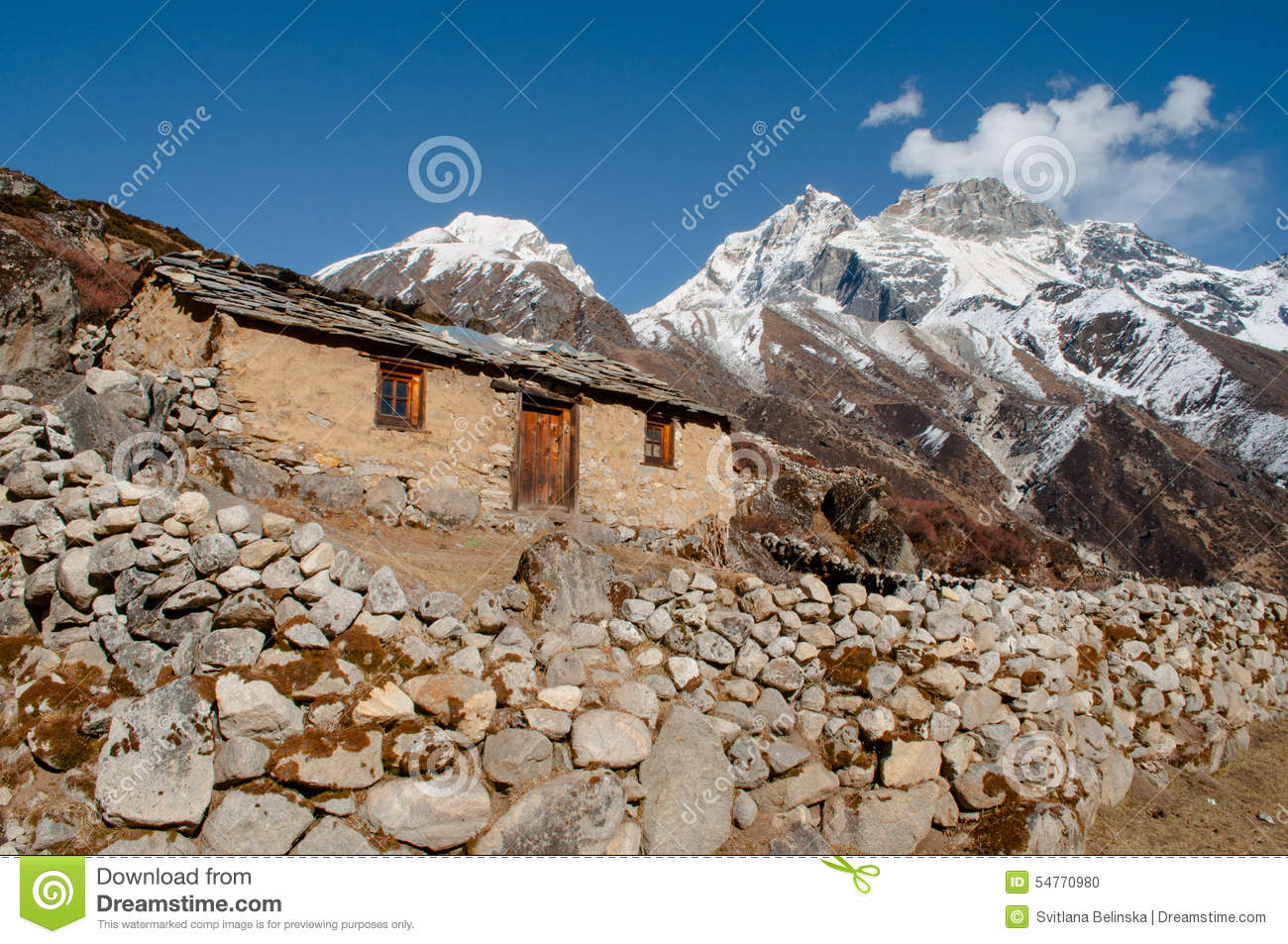Old House In Himalayas Stock Photo Image Of Panorama