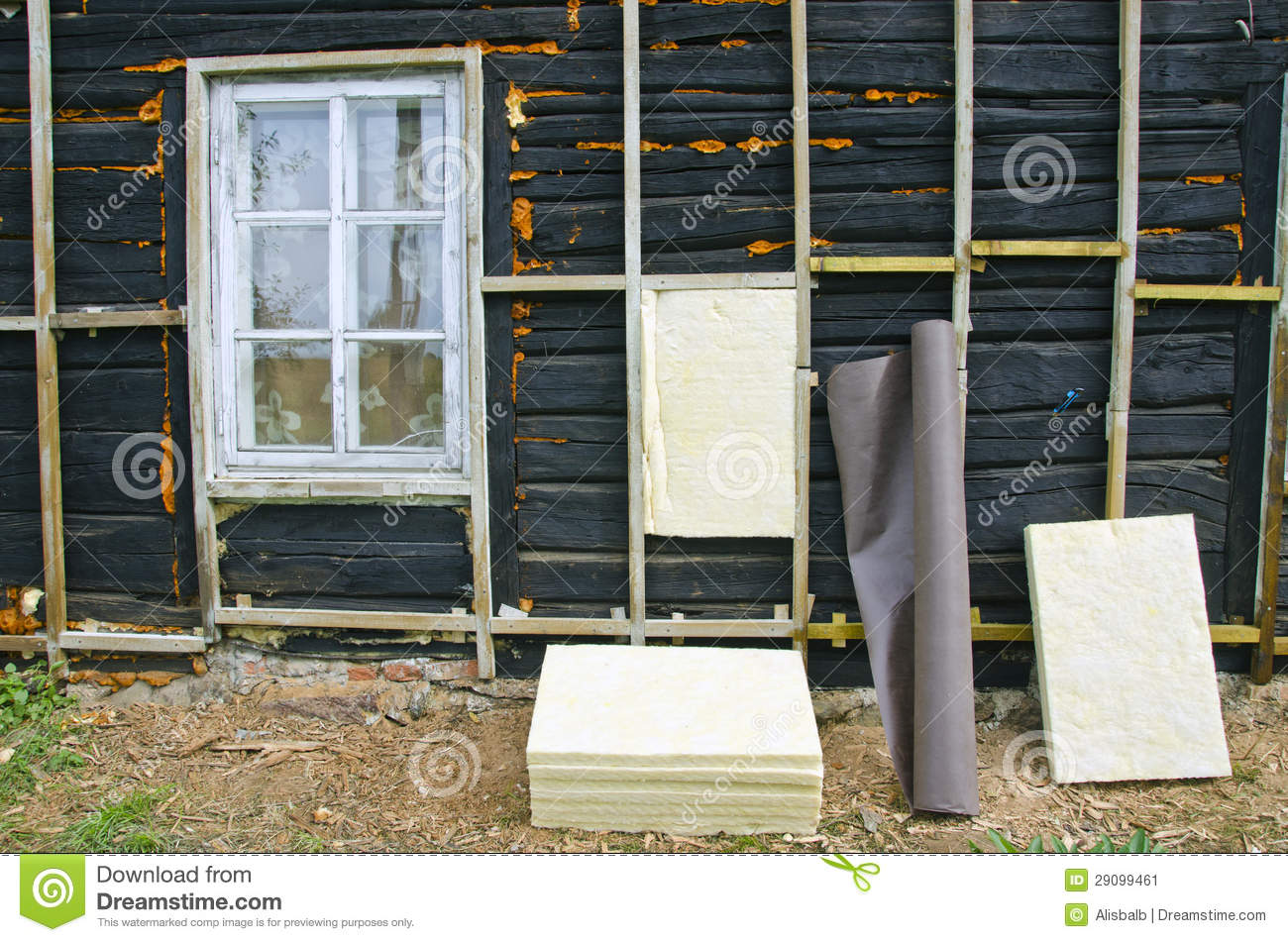 Old house insulation with mineral rock wool stock image for Wool house insulation
