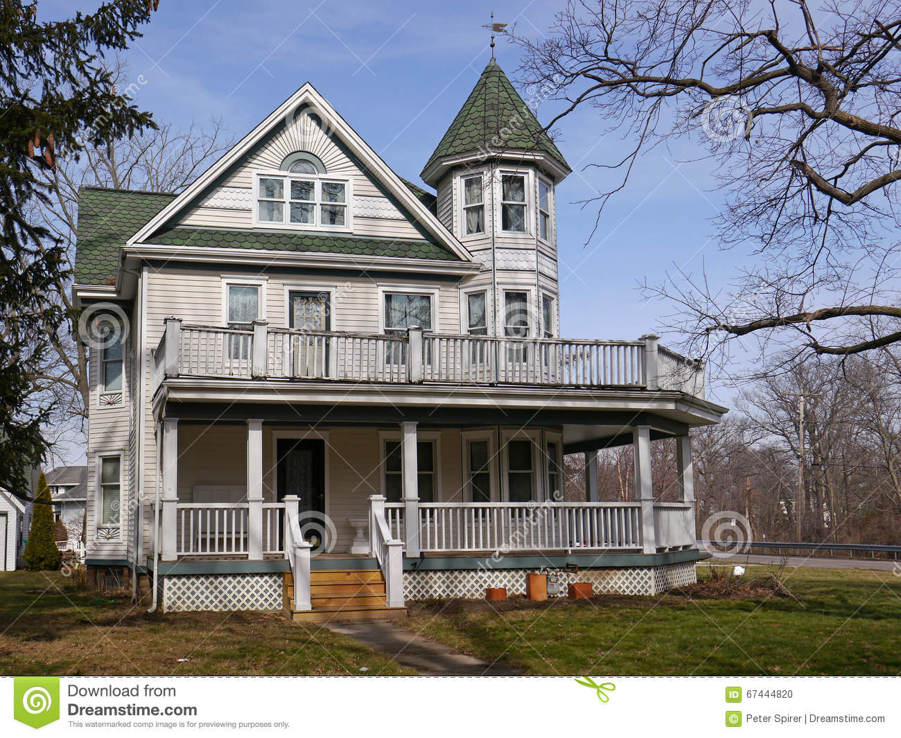 Old house with large porch stock photo image of style for Old american style houses