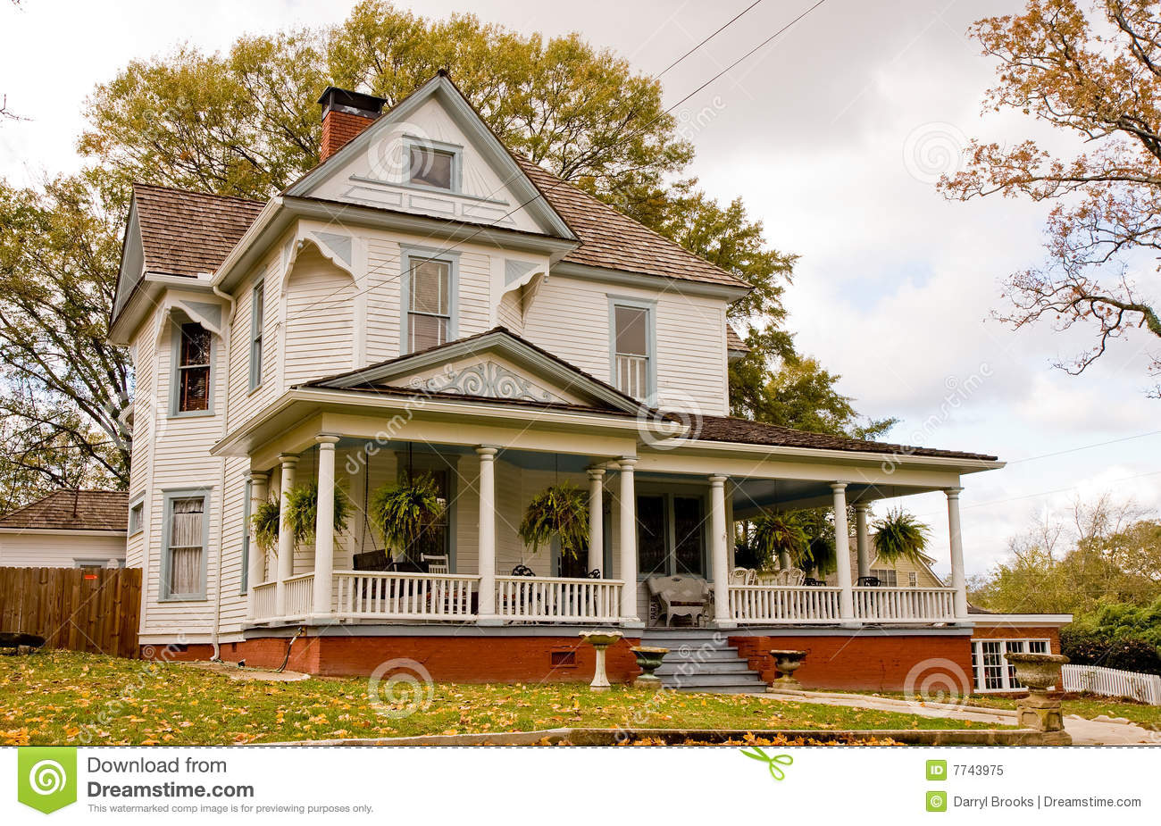 Old house with plants on porch royalty free stock photo for Classic house plants
