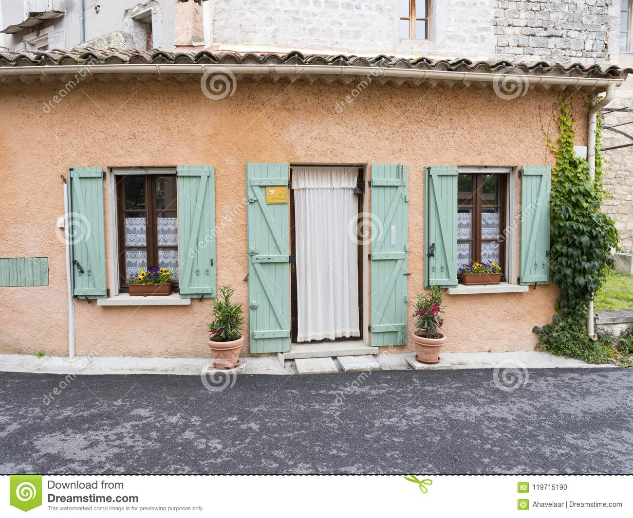 Old House In Provence Town Of Manosque With Turqoise