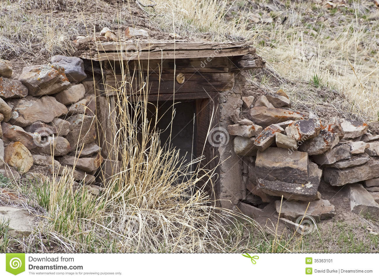 Old House Or Root Cellar Stone Entrance Stock Image