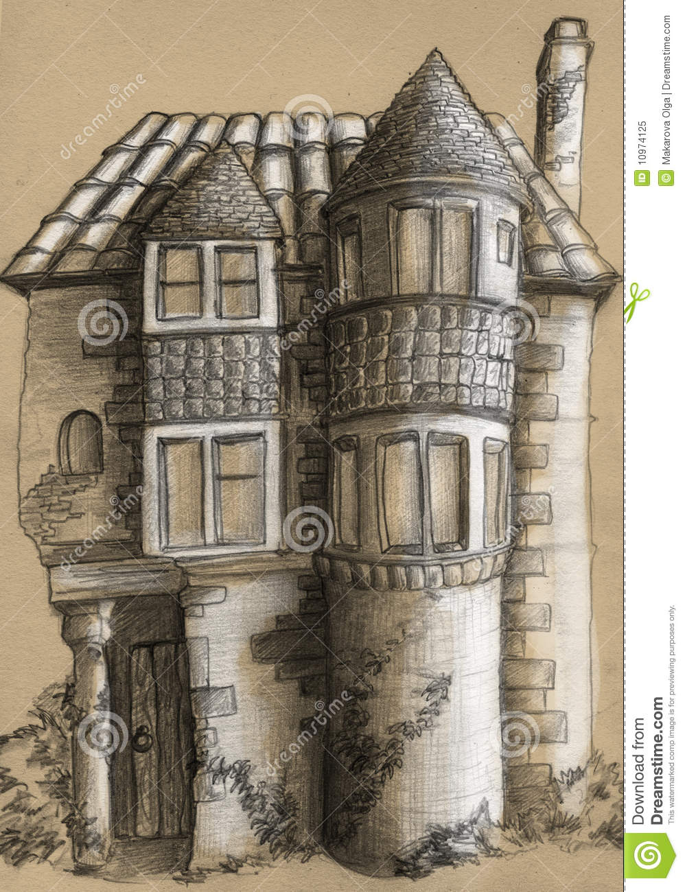 Mansion Drawing: Old House Sketch Royalty Free Stock Photo