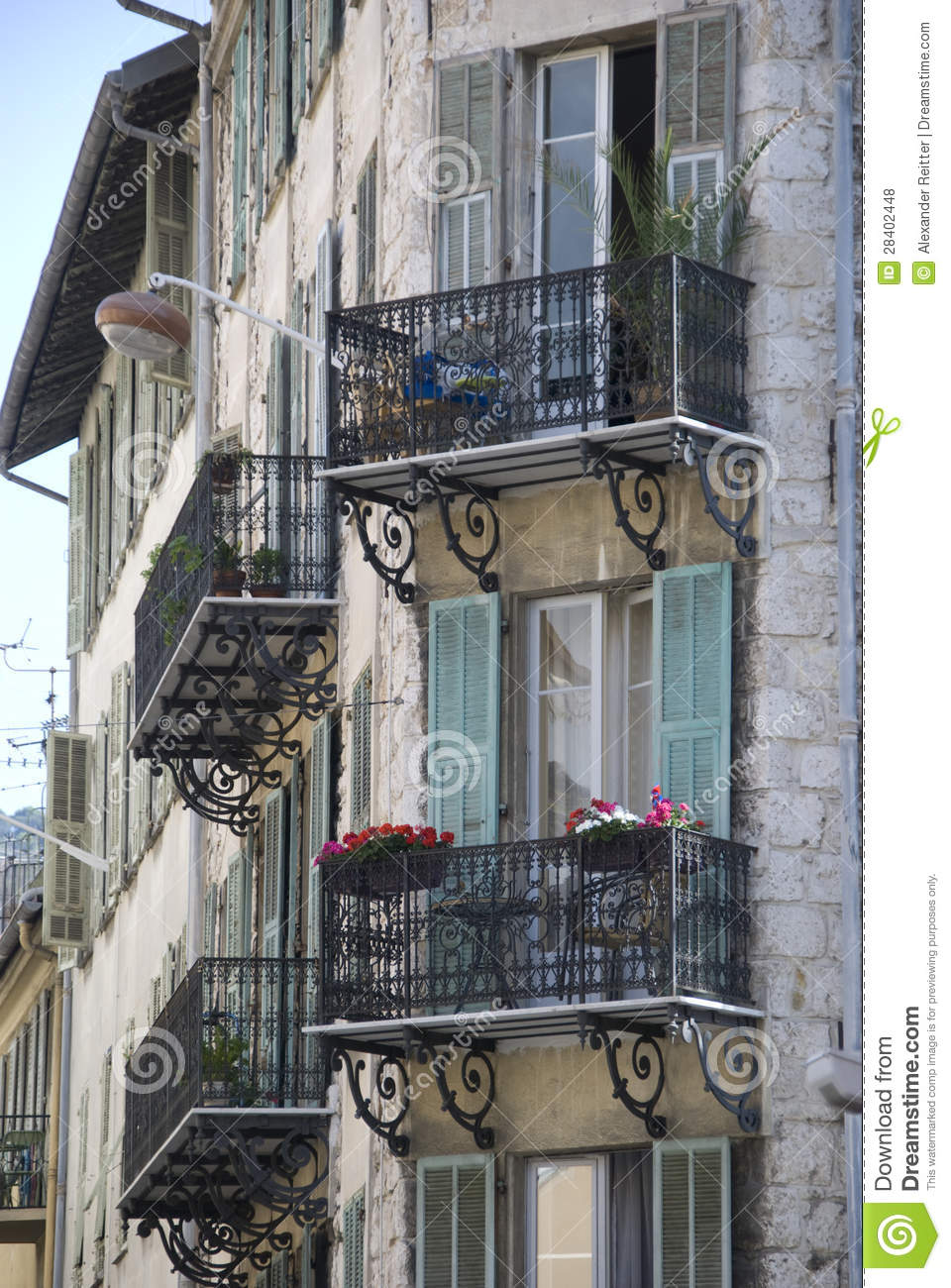 Old house with small french balconies france stock photo for Balcony french
