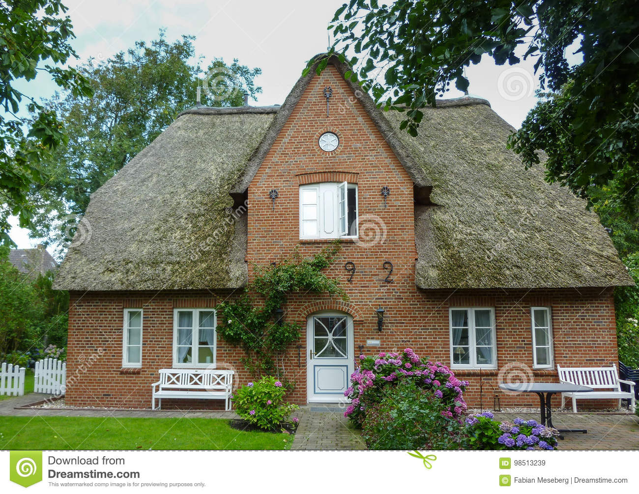 Old house with a thatch on the German island of Foehr Föhr