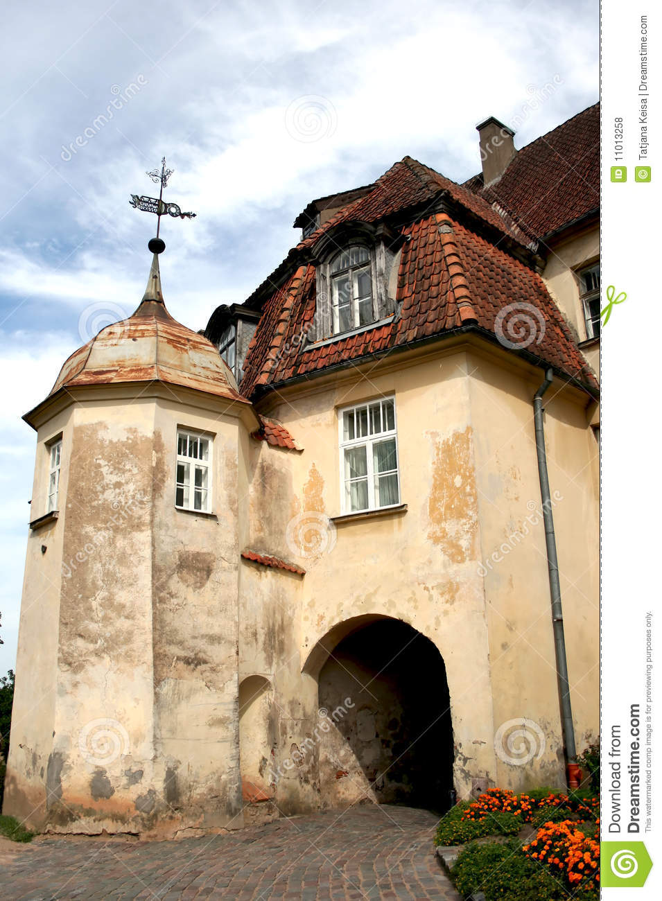 Old tower castle in town bauska royalty free stock photo - The house in the old franciscan tower ...