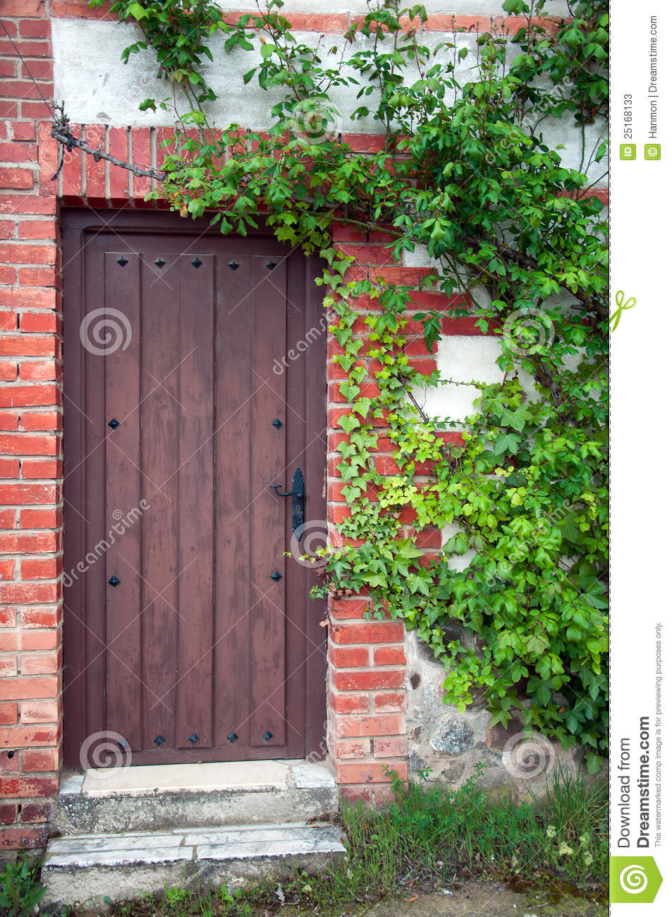 Old house with wooden door and green plants stock photos for Classic house plants