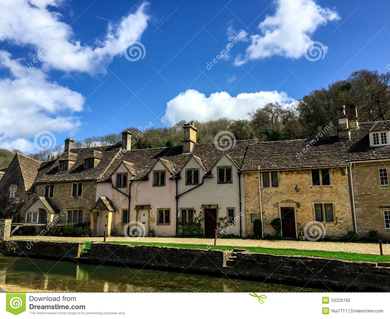 Old Houses In Combe Castle Village, UK Stock Photo - Image