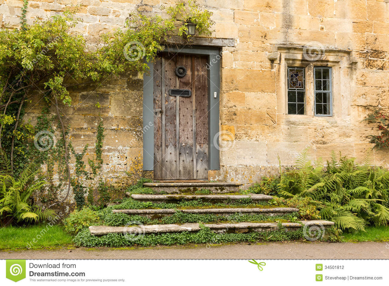 Old Houses In Cotswold District Of England Stock