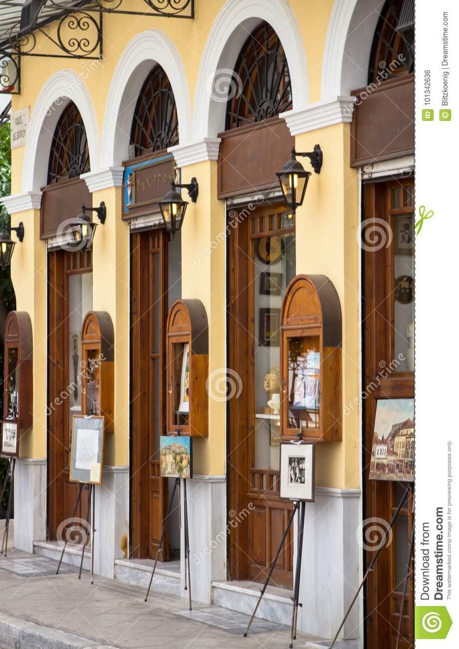 Old Houses In Plaka, Athens Editorial Photo - Image of sale, shop