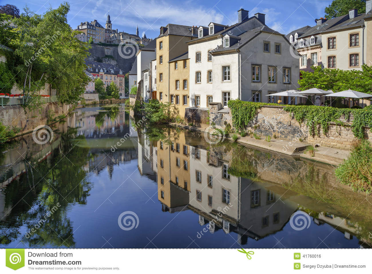 Old houses reflecting alzette river stock photo image for Luxembourg homes