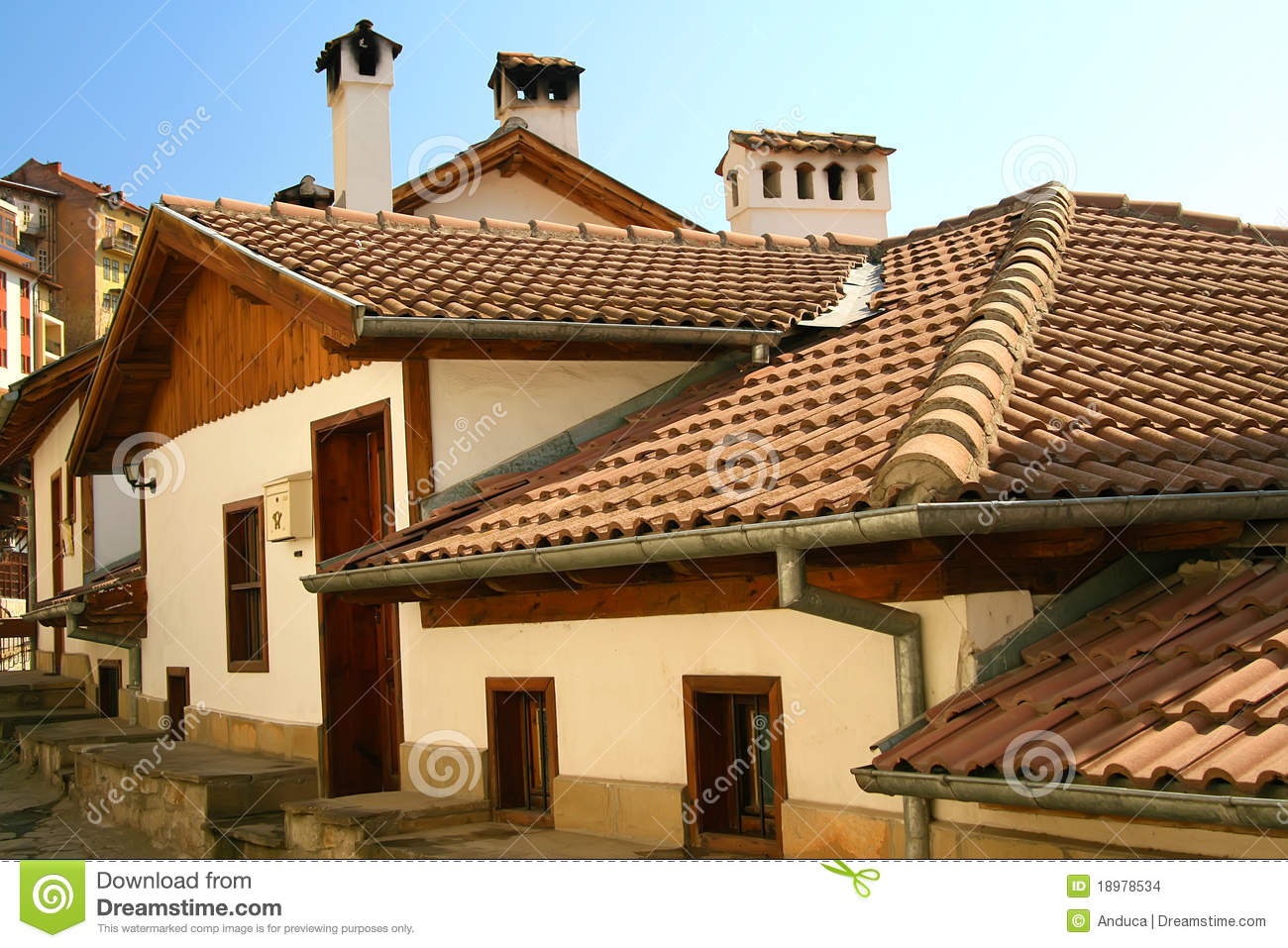 Old Houses And Roofs With Ceramic Tiles Stock Photo